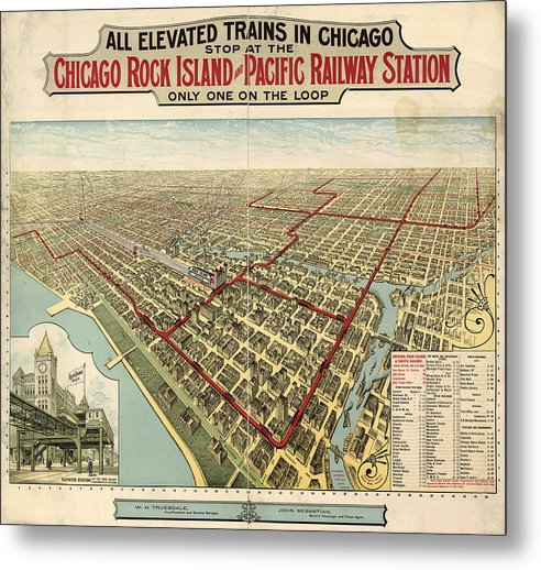 Vintage Map of Elevated Trains In Chicago From 1897 - Metal Print from Wallasso - The Wall Art Superstore