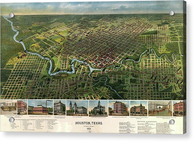 Vintage Map of Houston, Texas From 1891 - Acrylic Print from Wallasso - The Wall Art Superstore