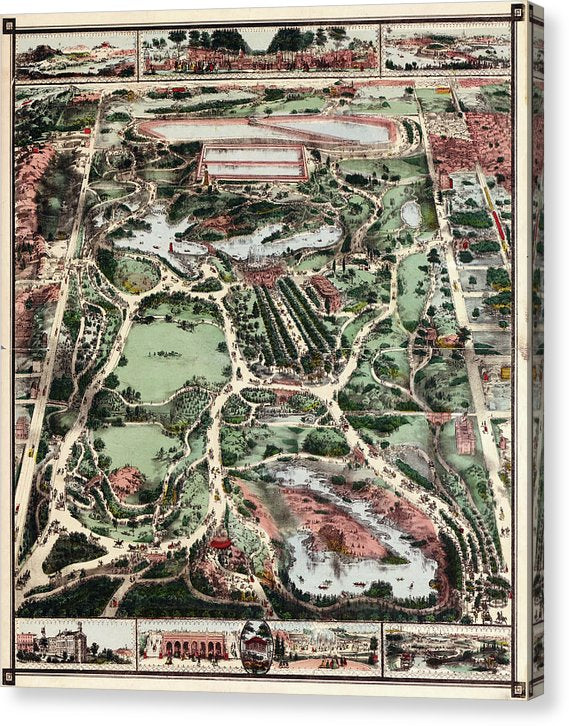 Vintage Map of New York City Central Park From 1860 - Canvas Print from Wallasso - The Wall Art Superstore