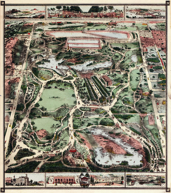 Vintage Map of New York City Central Park From 1860 - Art Print from Wallasso - The Wall Art Superstore