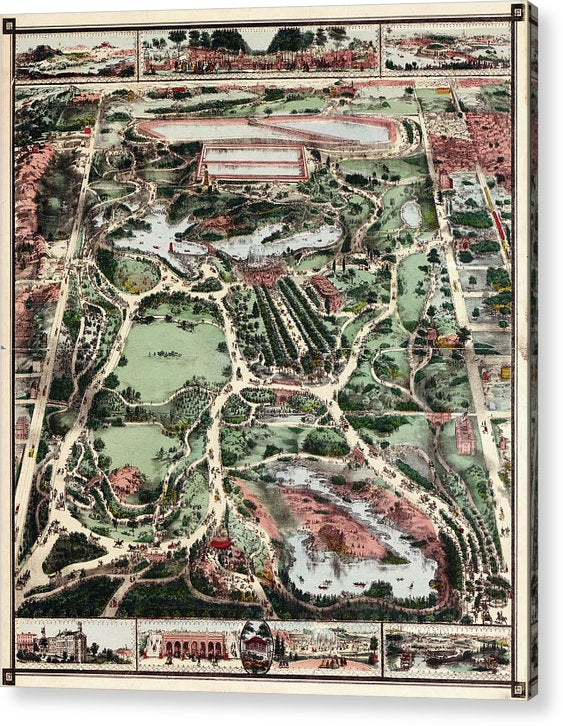 Vintage Map of New York City Central Park From 1860 - Acrylic Print from Wallasso - The Wall Art Superstore