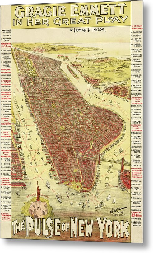 Vintage Map of New York City From 1891 - Metal Print from Wallasso - The Wall Art Superstore