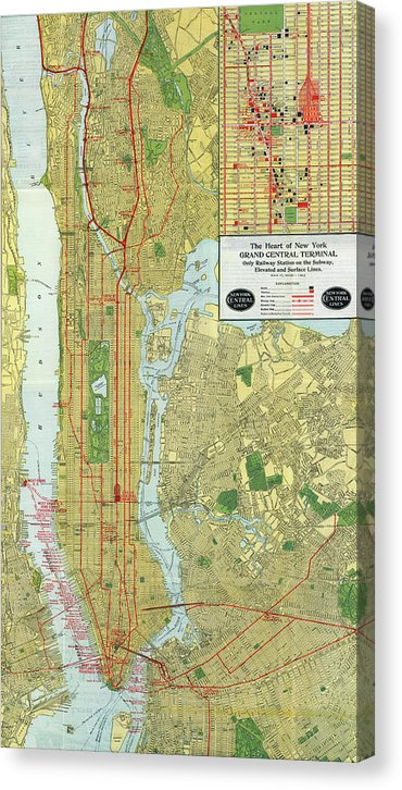 Vintage Map of New York City Railroads From 1918 - Canvas Print from Wallasso - The Wall Art Superstore