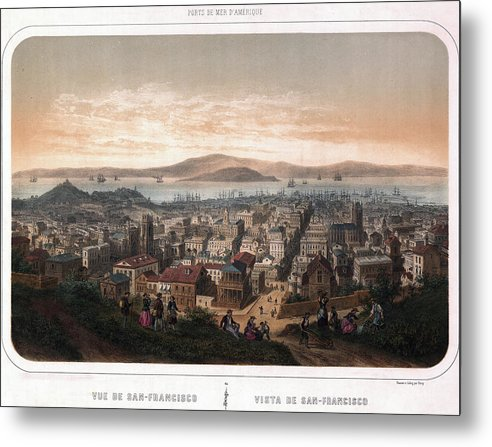 Vintage Map of San Francisco, California From 1846 - Metal Print from Wallasso - The Wall Art Superstore