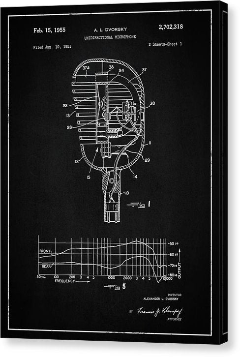 Vintage Microphone Patent, 1955 - Canvas Print from Wallasso - The Wall Art Superstore