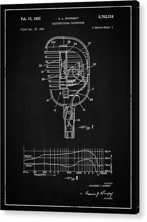Vintage Microphone Patent, 1955 - Acrylic Print from Wallasso - The Wall Art Superstore