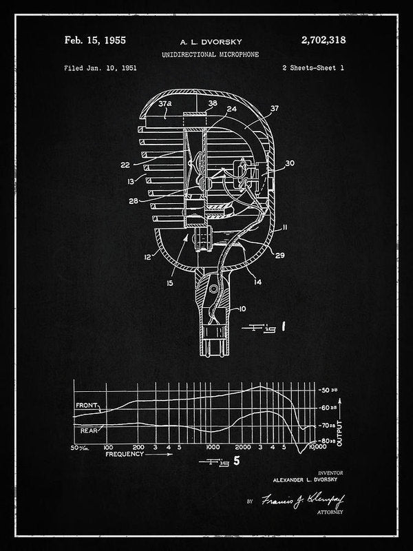Vintage Microphone Patent, 1955 - Art Print from Wallasso - The Wall Art Superstore