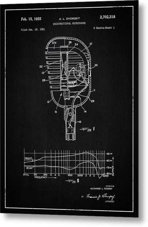 Vintage Microphone Patent, 1955 - Metal Print from Wallasso - The Wall Art Superstore
