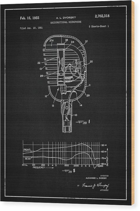 Vintage Microphone Patent, 1955 - Wood Print from Wallasso - The Wall Art Superstore