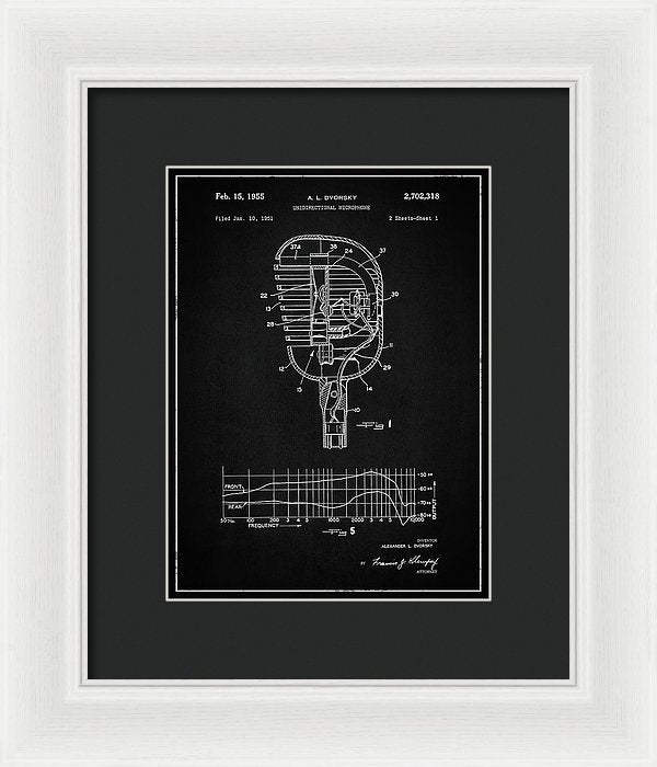 Vintage Microphone Patent, 1955 - Framed Print from Wallasso - The Wall Art Superstore