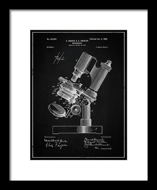 Vintage Microscope Patent, 1899 - Framed Print from Wallasso - The Wall Art Superstore