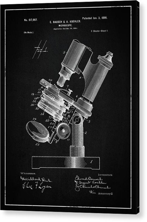 Vintage Microscope Patent, 1899 - Acrylic Print from Wallasso - The Wall Art Superstore