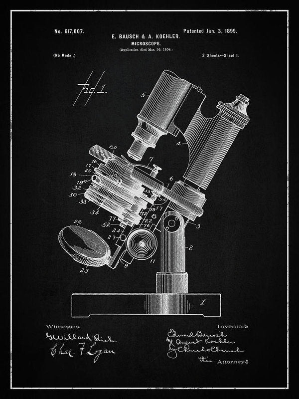 Vintage Microscope Patent, 1899 - Art Print from Wallasso - The Wall Art Superstore