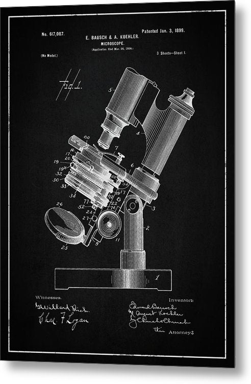 Vintage Microscope Patent, 1899 - Metal Print from Wallasso - The Wall Art Superstore