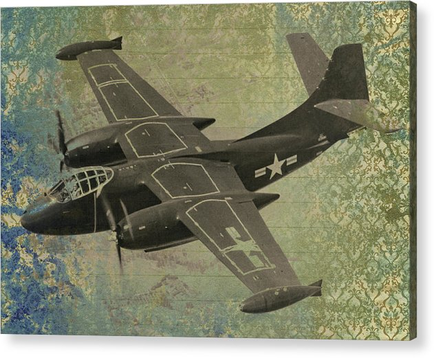 Vintage Military Propeller Plane Design - Acrylic Print from Wallasso - The Wall Art Superstore