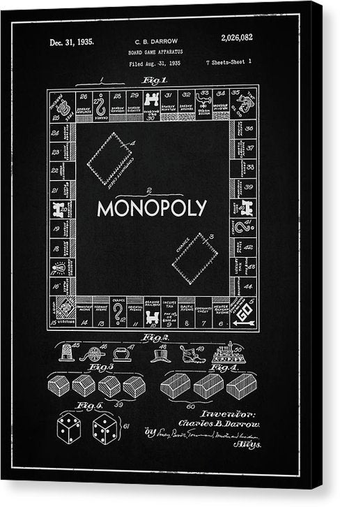 Vintage Monopoly Board Game Patent, 1935 - Canvas Print from Wallasso - The Wall Art Superstore