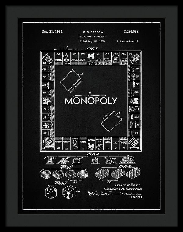 Vintage Monopoly Board Game Patent, 1935 - Framed Print from Wallasso - The Wall Art Superstore