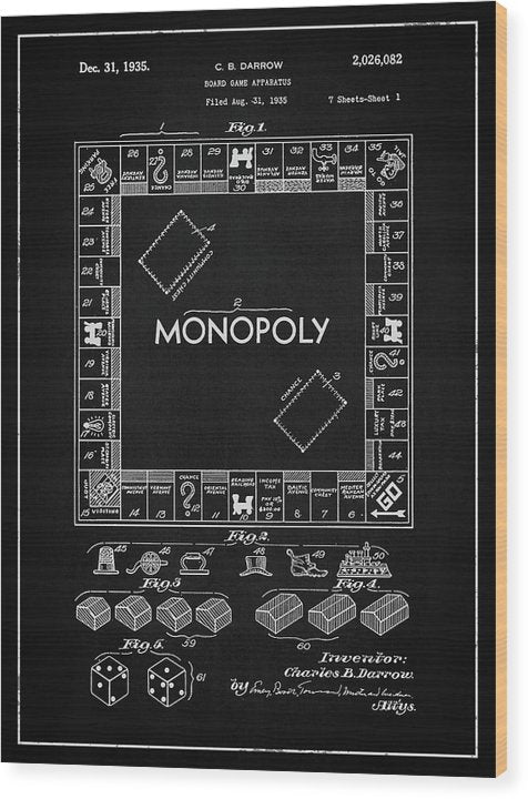 Vintage Monopoly Board Game Patent, 1935 - Wood Print from Wallasso - The Wall Art Superstore
