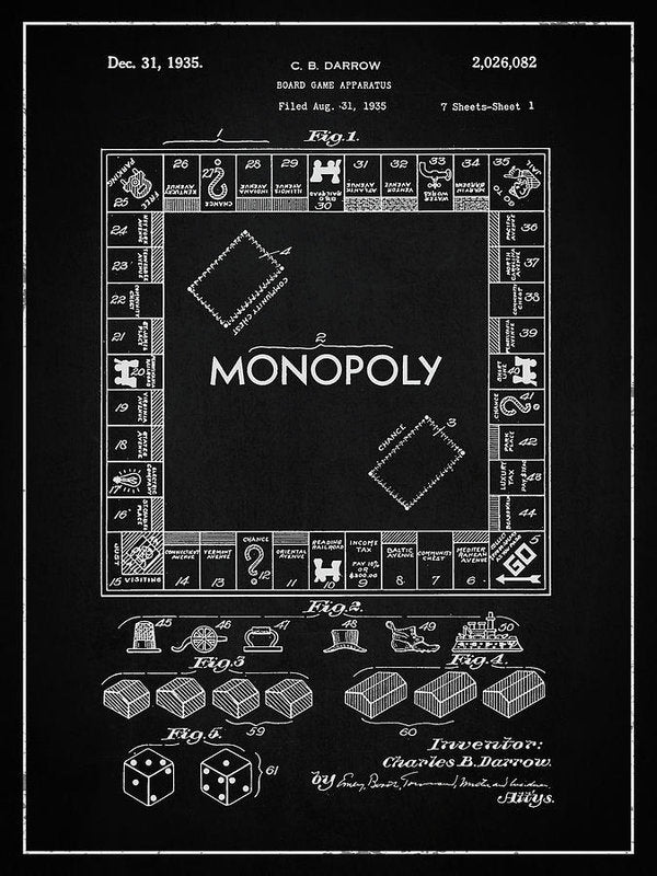 Vintage Monopoly Board Game Patent, 1935 - Art Print from Wallasso - The Wall Art Superstore