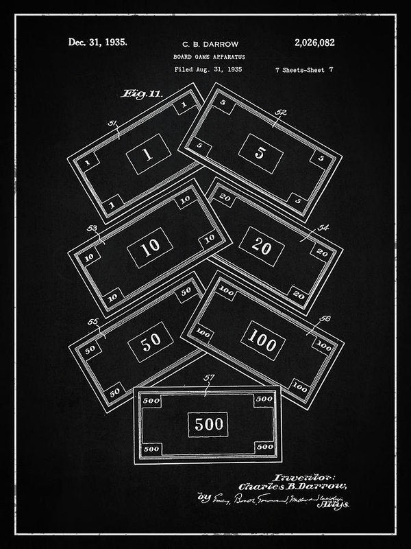 Vintage Monopoly Money Patent, 1935 - Art Print from Wallasso - The Wall Art Superstore