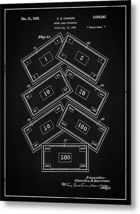 Vintage Monopoly Money Patent, 1935 - Metal Print from Wallasso - The Wall Art Superstore