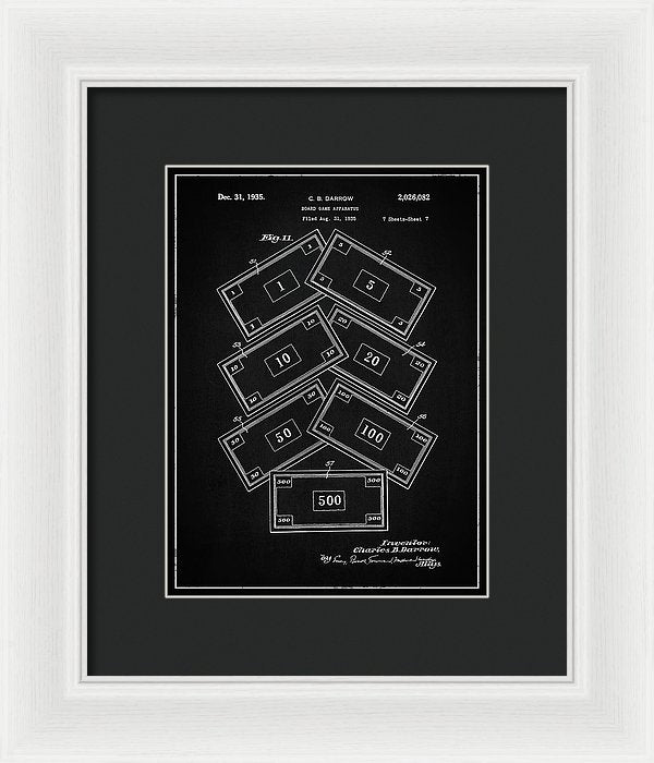 Vintage Monopoly Money Patent, 1935 - Framed Print from Wallasso - The Wall Art Superstore
