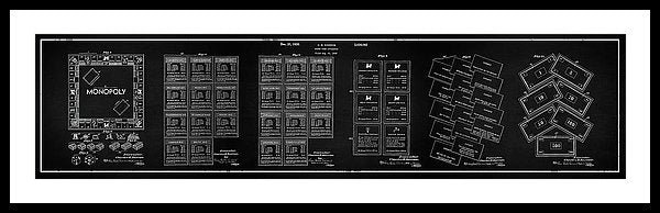 Vintage Monopoly Patent Panoramic, 1935 - Framed Print from Wallasso - The Wall Art Superstore