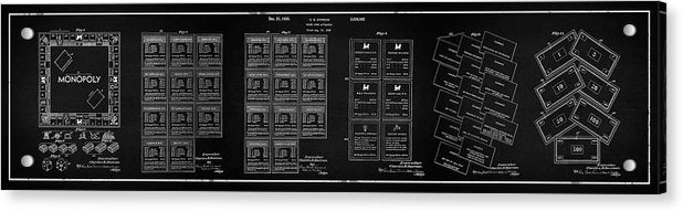 Vintage Monopoly Patent Panoramic, 1935 - Acrylic Print from Wallasso - The Wall Art Superstore