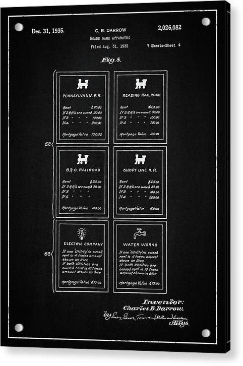 Vintage Monopoly Railroad Card Patent, 1935 - Acrylic Print from Wallasso - The Wall Art Superstore