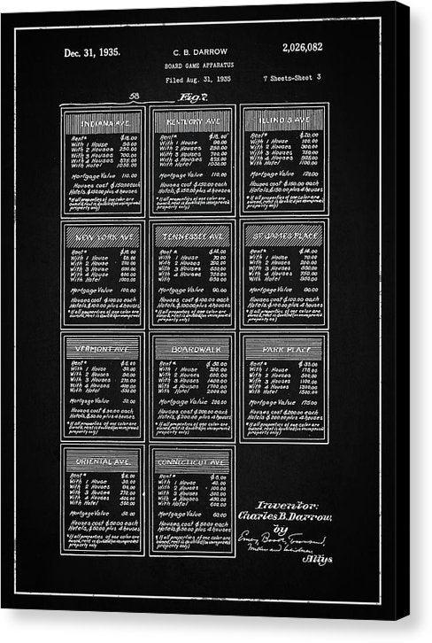 Vintage Monopoly Title Deed Patent, 1935 - Canvas Print from Wallasso - The Wall Art Superstore
