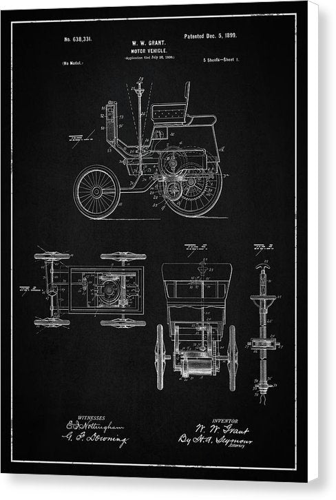 Vintage Motor Vehicle Patent, 1899 - Canvas Print from Wallasso - The Wall Art Superstore