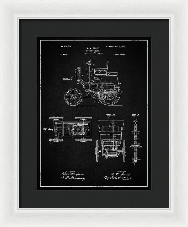 Vintage Motor Vehicle Patent, 1899 - Framed Print from Wallasso - The Wall Art Superstore