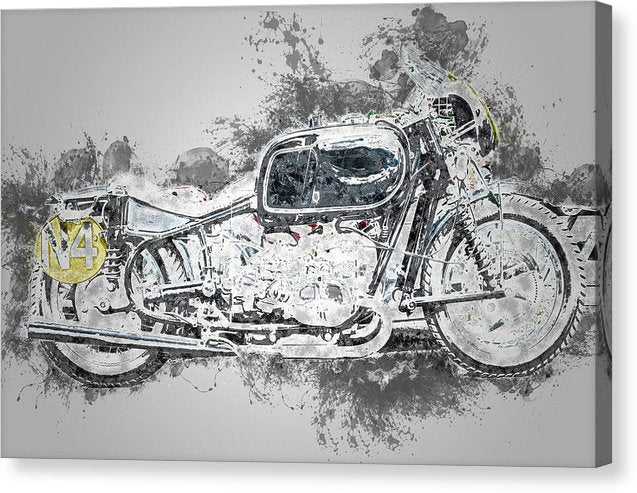 Vintage Motorcycle Painting - Canvas Print from Wallasso - The Wall Art Superstore