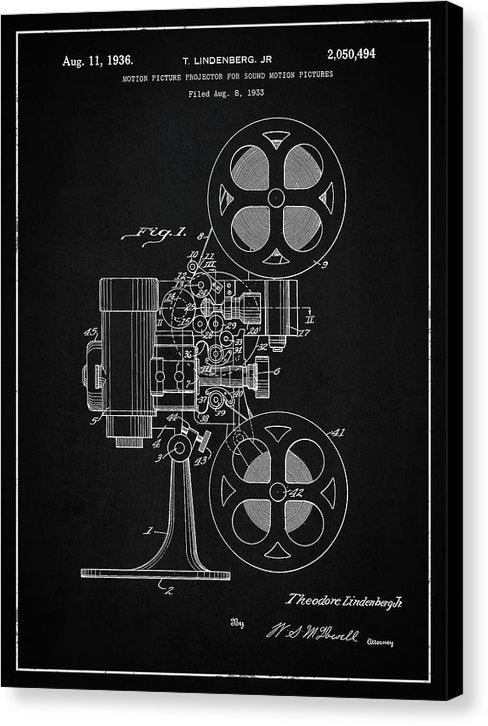 Vintage Movie Projector Patent, 1936 - Canvas Print from Wallasso - The Wall Art Superstore