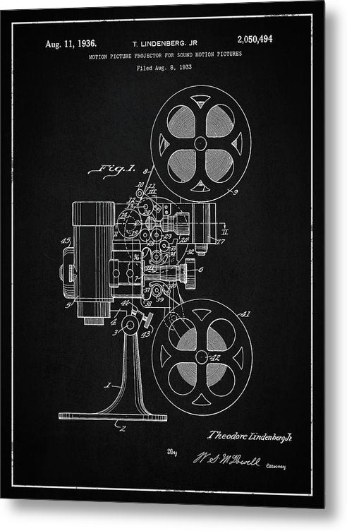 Vintage Movie Projector Patent, 1936 - Metal Print from Wallasso - The Wall Art Superstore