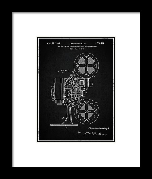 Vintage Movie Projector Patent, 1936 - Framed Print from Wallasso - The Wall Art Superstore
