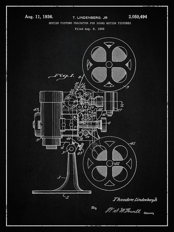 Vintage Movie Projector Patent, 1936 - Art Print from Wallasso - The Wall Art Superstore