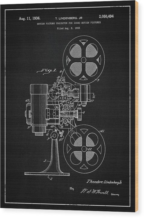 Vintage Movie Projector Patent, 1936 - Wood Print from Wallasso - The Wall Art Superstore