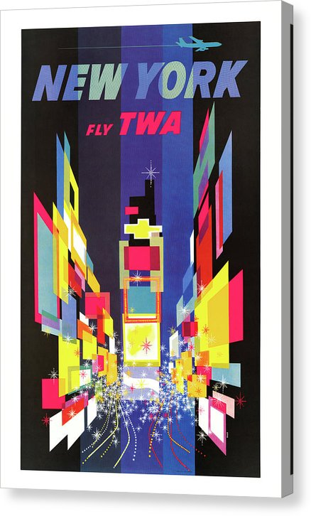Vintage New York City TWA Airplane Travel Poster, 1960 - Canvas Print from Wallasso - The Wall Art Superstore
