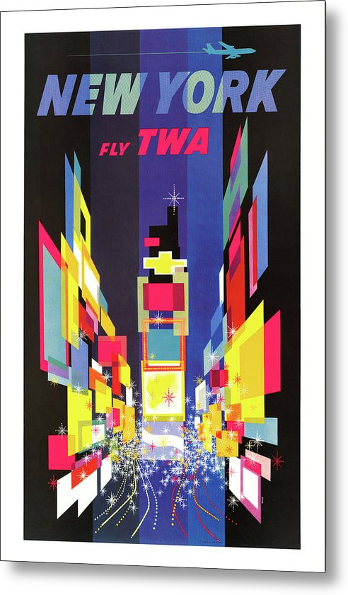 Vintage New York City TWA Airplane Travel Poster, 1960 - Metal Print from Wallasso - The Wall Art Superstore