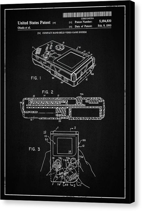 Vintage Nintendo Game Boy Patent, 1993 - Canvas Print from Wallasso - The Wall Art Superstore