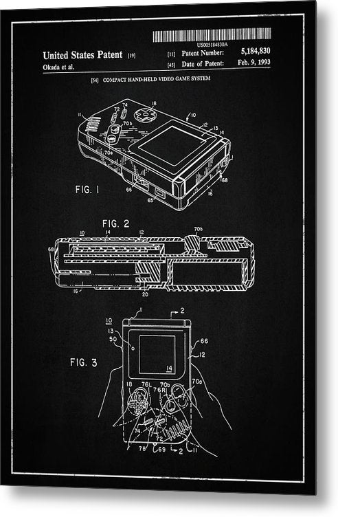 Vintage Nintendo Game Boy Patent, 1993 - Metal Print from Wallasso - The Wall Art Superstore