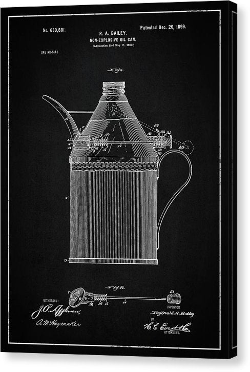 Vintage Oil Can Patent, 1899 - Canvas Print from Wallasso - The Wall Art Superstore