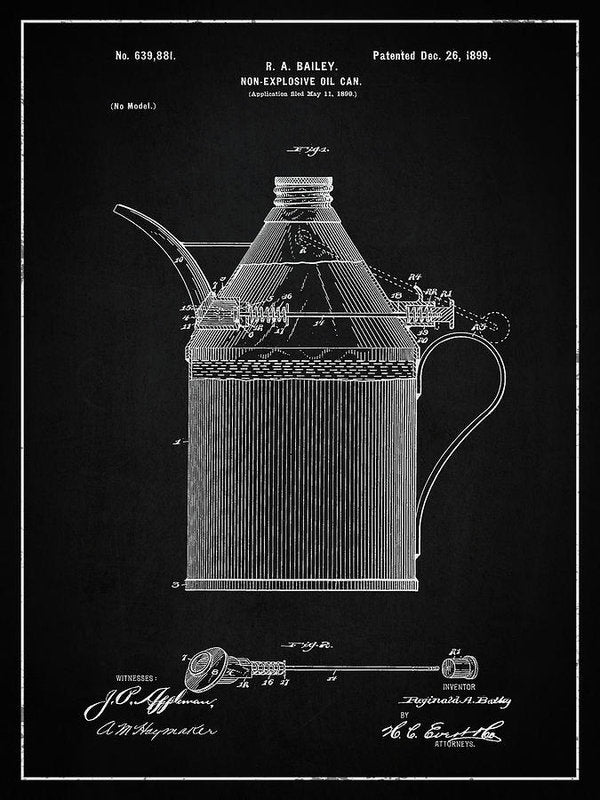 Vintage Oil Can Patent, 1899 - Art Print from Wallasso - The Wall Art Superstore