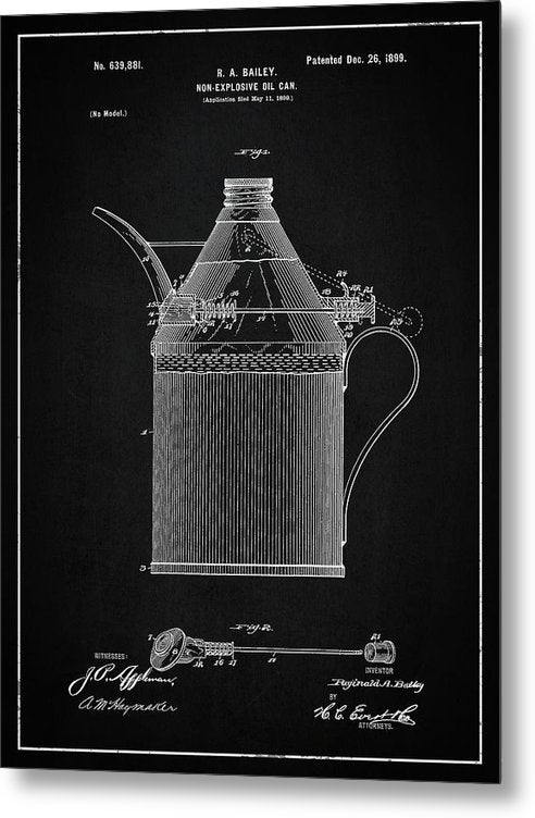 Vintage Oil Can Patent, 1899 - Metal Print from Wallasso - The Wall Art Superstore
