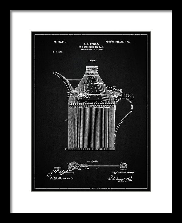 Vintage Oil Can Patent, 1899 - Framed Print from Wallasso - The Wall Art Superstore