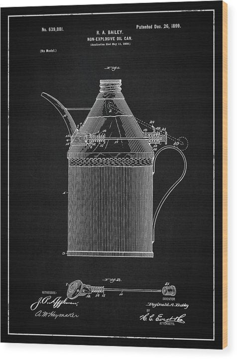 Vintage Oil Can Patent, 1899 - Wood Print from Wallasso - The Wall Art Superstore