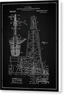 Vintage Oil Rig Patent, 1911 - Canvas Print from Wallasso - The Wall Art Superstore
