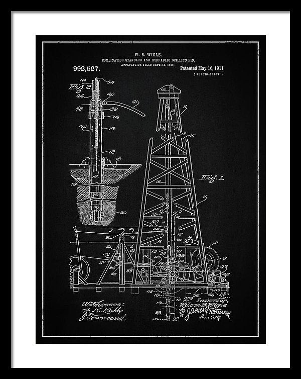 Vintage Oil Rig Patent, 1911 - Framed Print from Wallasso - The Wall Art Superstore