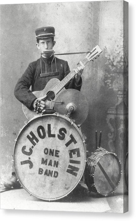 Vintage One Man Band Musician - Canvas Print from Wallasso - The Wall Art Superstore